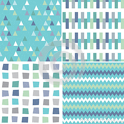 Free Seamless Hipster Geometric Patterns In Aqua Blue And Gray Royalty Free Stock Images - 54735319