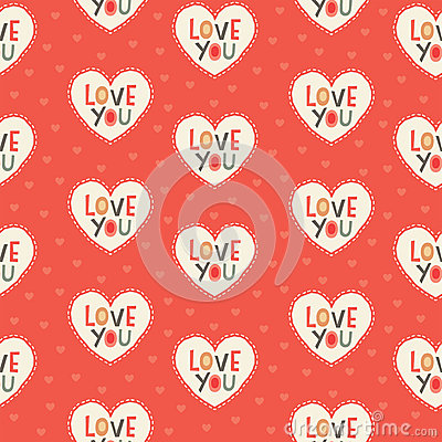 Free Seamless Hipster Hearts Pattern In Red And Cream Royalty Free Stock Photos - 37650178