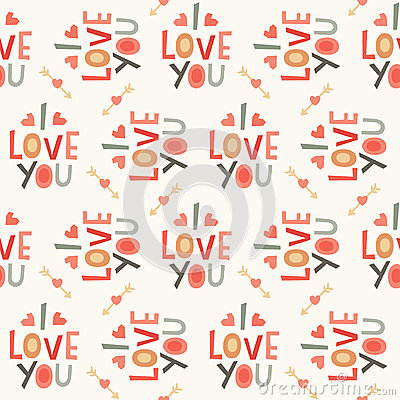 Free Seamless Hipster Love Pattern In Cream And Red Royalty Free Stock Photography - 37650257