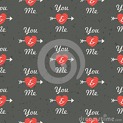Free Seamless Hipster Love Pattern You And Me In Red An Royalty Free Stock Photo - 37650205