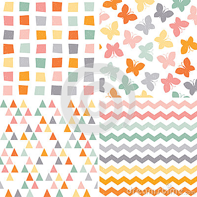 Free Seamless Hipster Pattern Set Orange Pink Gray Stock Image - 44235301