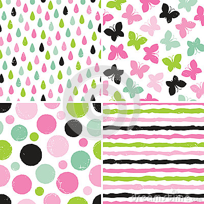 Free Seamless Hipster Patterns For Girls In Pink And Green Royalty Free Stock Photo - 42727475