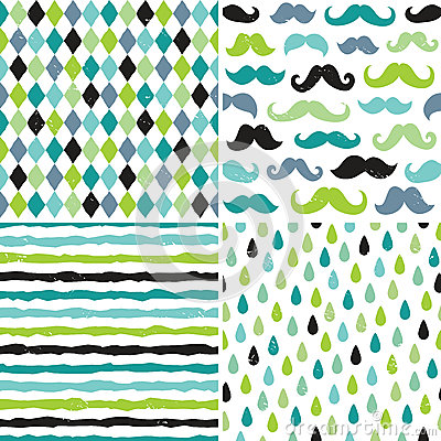 Free Seamless Hipster Patterns In Blues And Greens Royalty Free Stock Photography - 42727477