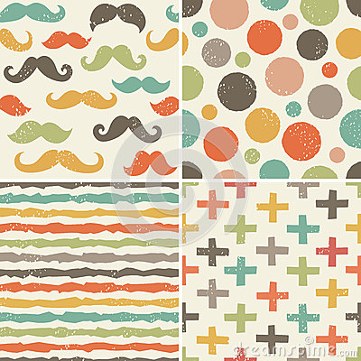 Seamless hipster patterns in retro colors Vector Illustration