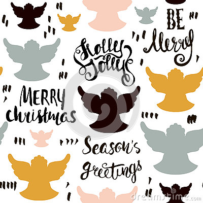 Free Seamless Holiday Hand Drawn Pattern With Christmas Angels And Hand Written Lettering. Vector Illustration. Royalty Free Stock Photos - 79695448