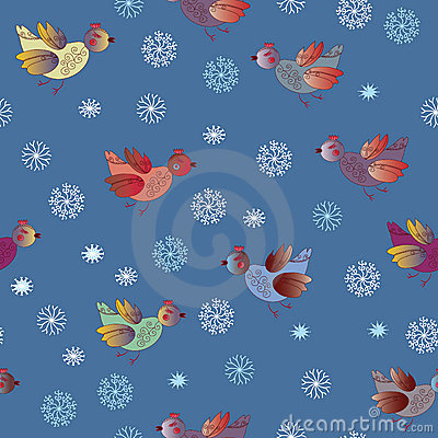 Seamless holiday pattern with birds