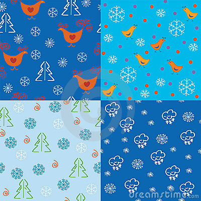 Seamless holidays pattern set