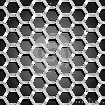 Seamless honeycomb pattern over black gradient