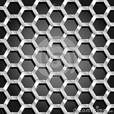 Seamless honeycomb pattern over black gradient