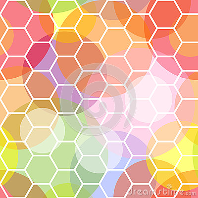 Seamless honeycomb and transparent dots pattern