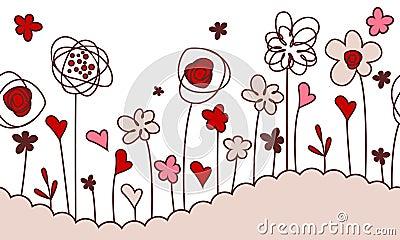 Seamless horizontal border with stylized flowers