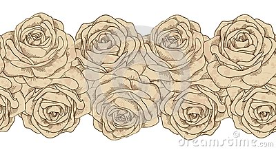 Seamless horizontal element frames and old roses dirty in spots. vintage style