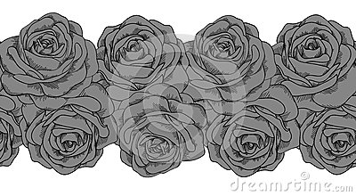 Seamless horizontal frame element of gray roses wi