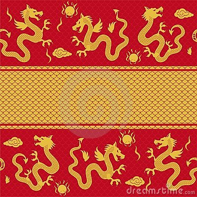 Seamless horizontal pattern of the dragon in vecto