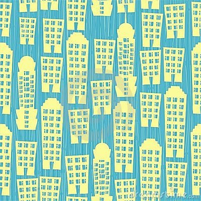 Seamless houses on blue textured background