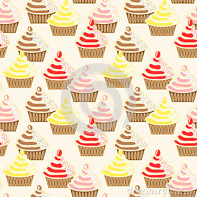 Seamless Iced Topping Cupcakes Pattern
