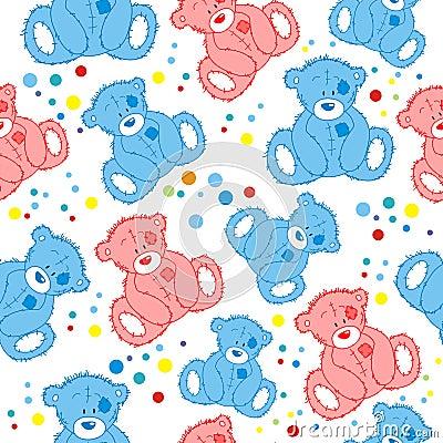 Seamless Illustration Featuring teddy Bears Vector Illustration