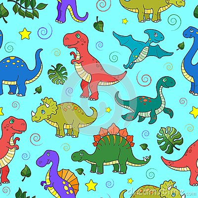 Free Seamless Illustration  With Colorful Dinosaurs And Leaves, Animals On Blue Background Royalty Free Stock Photo - 113046635