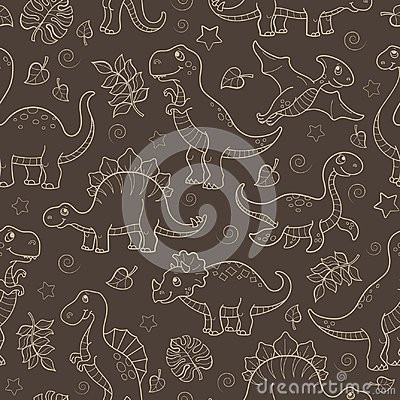 Free Seamless Illustration With Dinosaurs And Leaves, Contoured Animals Beige Outline On A Brown Background Stock Photography - 118843892