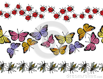 Seamless insect pattern border set. Vector