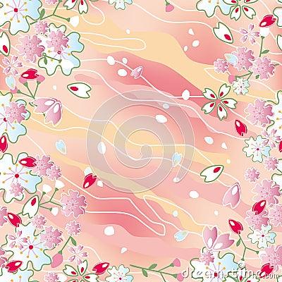 Seamless japanese cherry blossoms frame