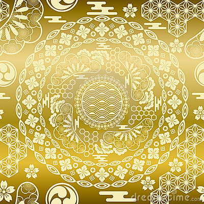 Seamless japanese modern gold background