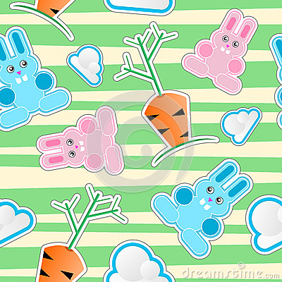 Seamless kid pattern with bunnies, clouds, carrots