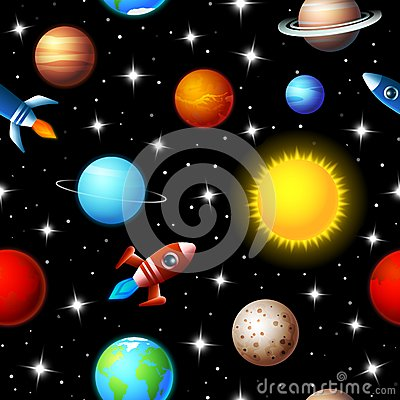 Free Seamless Kids Design Of Rockets And Planets Stock Image - 42703571