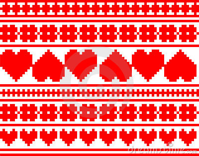Seamless knitted valentine pattern
