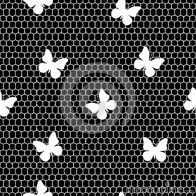 Seamless lace pattern with butterflies