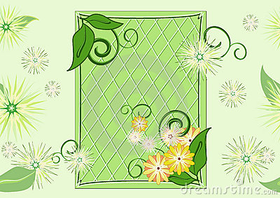Seamless leaf-and-flowers green pattern