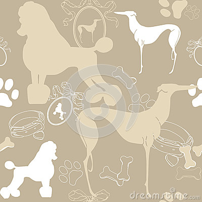 Seamless light background with dogs