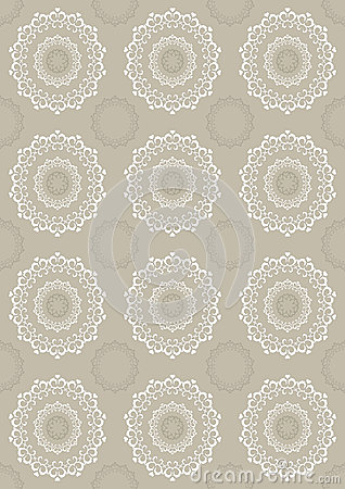 Seamless light beige background with openwork circ