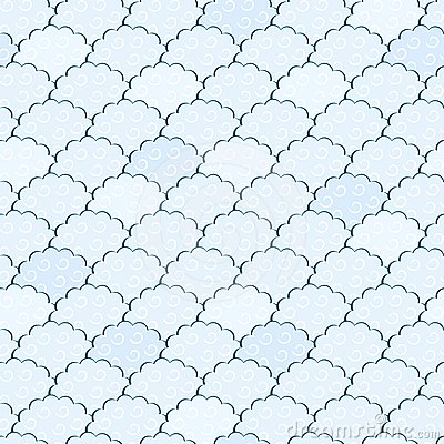 Seamless Light Blue and White Fluffy Cloud Pattern
