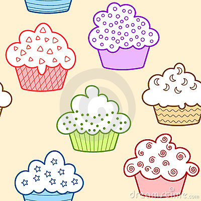 Seamless light colored cupcakes