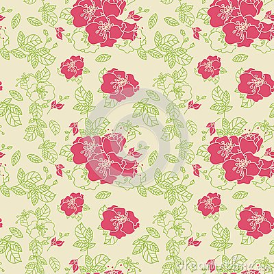 Seamless line Rose Pattern