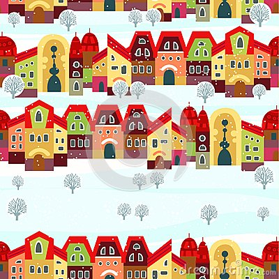 Seamless with little town in winter