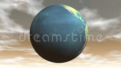 Seamless looping earth - 3D render. Seamless looping earth in brown cloudy sunset background, 3D render - Element of this image furnished by the NASA royalty free illustration