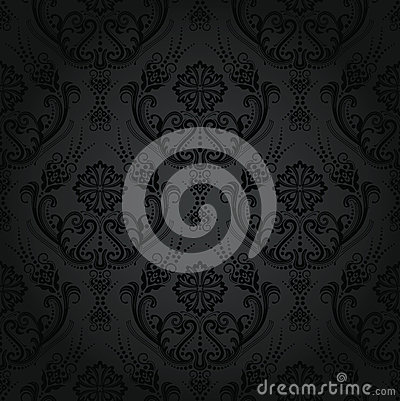 Free Seamless Luxury Black Floral Damask Wallpaper Stock Photos - 28304843
