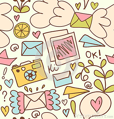 Free Seamless Mail Pattern  Cute Post Background With Letters, Camera, Fruits Stock Image - 34877241
