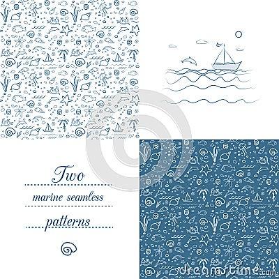 Free Seamless Marine Patterns Stock Images - 30908634