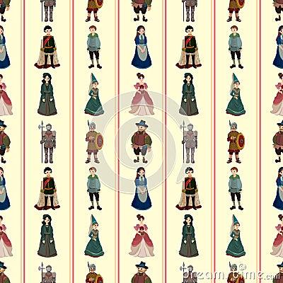 Seamless Medieval people pattern