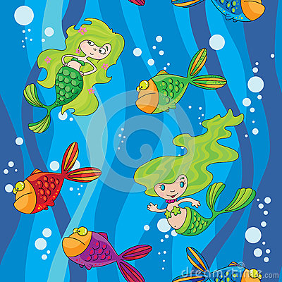 Seamless mermaids fish in water with waves