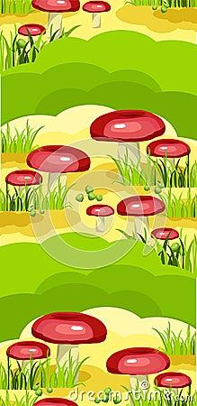 Seamless model of mushroom glade
