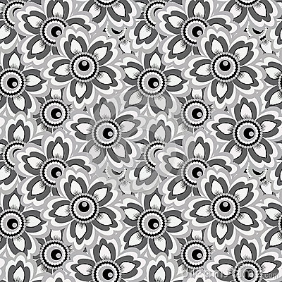 Seamless monochrome background of flowers