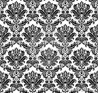 Seamless monochrome damask pat