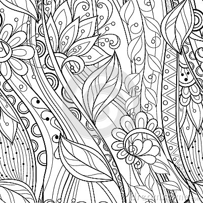 Free Seamless Monochrome Floral Pattern Royalty Free Stock Images - 53099219