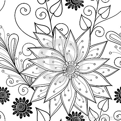Free Seamless Monochrome Floral Pattern (Vector) Stock Image - 53105121