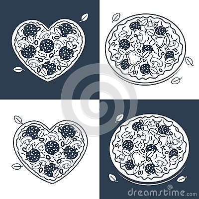 Free Seamless Monochrome Pizza Pattern Stock Images - 99409064