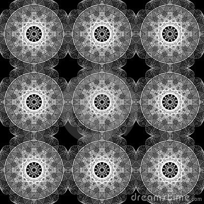 Seamless Monochrome Spirograph Background